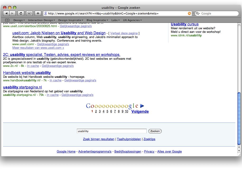 Wet van goede continuïteit Google pagination